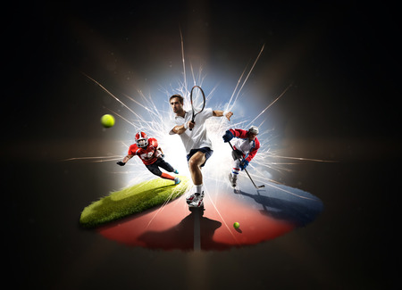 male tennis players: Multi sports collage tennis hockey american footbal