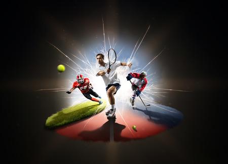 male tennis players: Multi sports collage tennis hockey american footbal