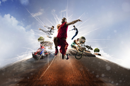 man symbol: Multi sports collage from karting basketball bmx batut karate Stock Photo