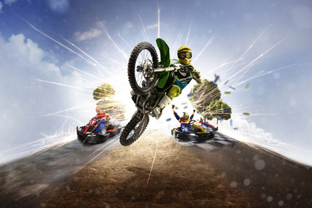 Multi sports motorsport collage from dirt bike karting