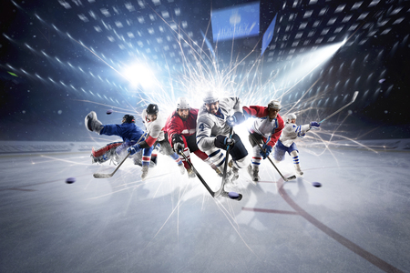 competitive: collage from professional hockey players in action