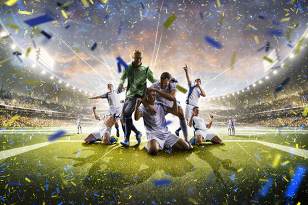 Collage from adult soccer players in action on the high light stadium background panorama