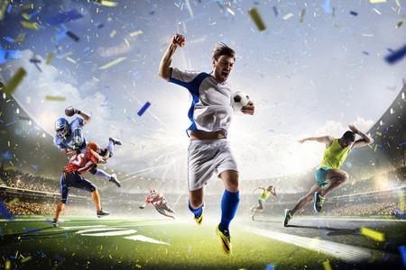 マルチ スポーツ コラージュ サッカー アメリカン フットボール、グランド アリーナで実行されています。