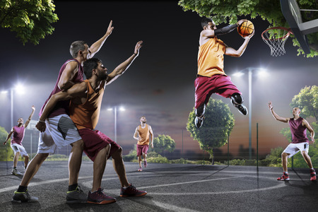 street shots: Streetball players in action on night court