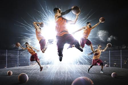 マルチ人バスケット ボール選手夜フラッシュ コラージュ 写真素材
