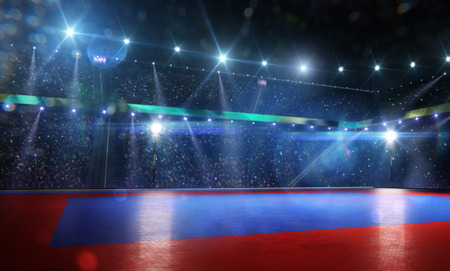 Clean grand combat arena in bright lights background Stock Photo