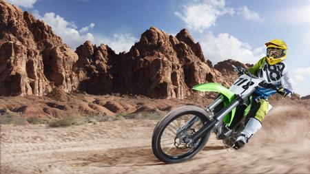 トラックのレースの勇敢な専門的な土のバイク ライダー 写真素材