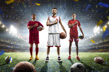 Soccer football basketball volleyball players on grand arena