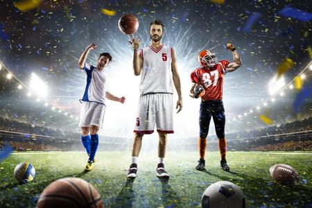 Soccer football basketball players on grand arena