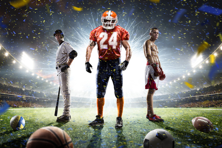 competitive: Boxing football baseball players on grand arena Stock Photo