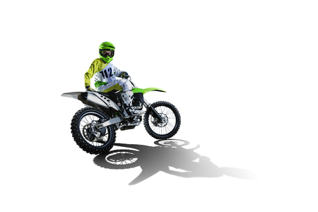 Dirt bike and rider isolated on white Stok Fotoğraf - 68584444