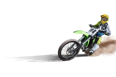 dirt: Dirt bike and rider isolated on white