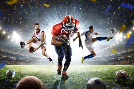 Multi sports proud players collage on grand arena Archivio Fotografico
