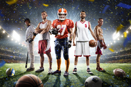 sports: Multi sports proud players collage on grand arena Stock Photo