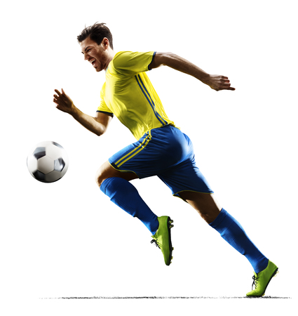 프로 축구 선수 행동에 격리 된 흰색 배경 스톡 콘텐츠