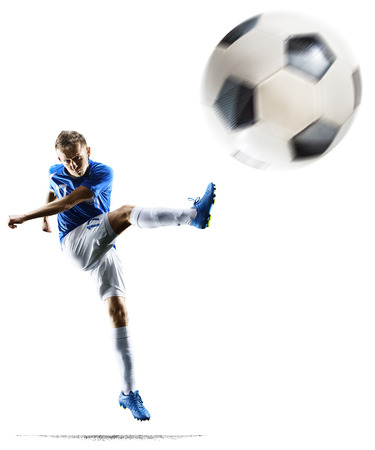 Professional football soccer player in action isolated white background