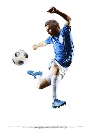 football player: Professional football soccer player in action isolated white background