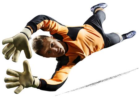 Professional soccer goalkeeper in action on white background 版權商用圖片