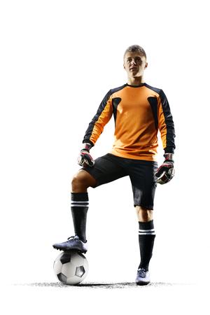 Professionele voetbal doelman in actie op witte achtergrond