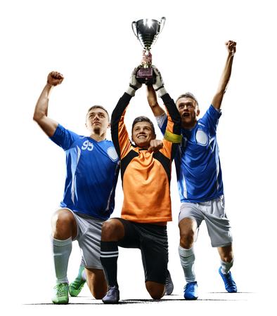Giocatori di calcio professionisti che celebrano la vittoria