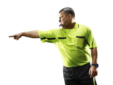 Professionele voetbal scheidsrechter geïsoleerd op een witte achtergrond Stockfoto