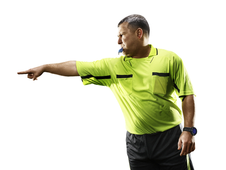 Professional soccer referee isolated on white background Standard-Bild