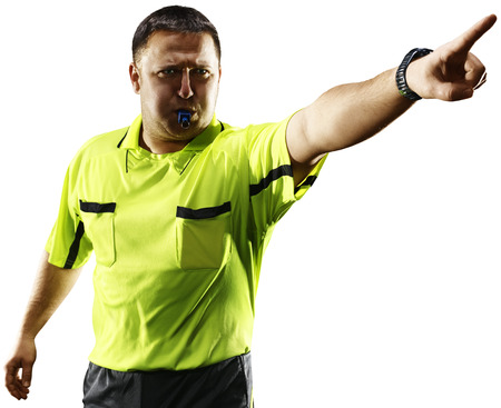 Professional soccer referee isolated on white background Stock Photo