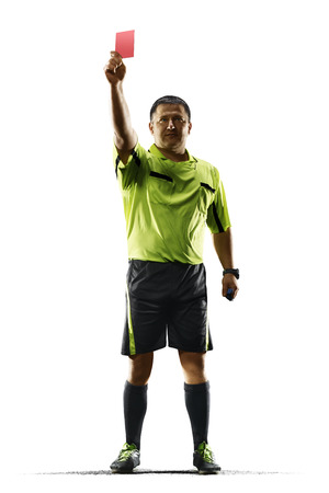 arbitrator: Professional soccer referee red card isolated on white background