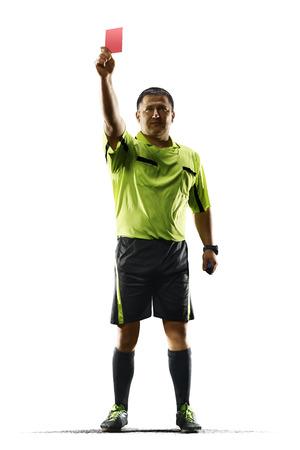 Professionele voet bal scheidsrechter rode kaart geïsoleerd op een witte achtergrond Stockfoto