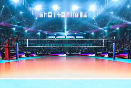 court: Empty professional volleyball court with spectators no players
