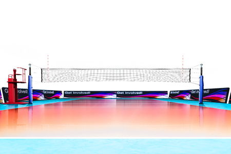 hi resolution: Hi resolution render of professional volleyball court isolated on the white background