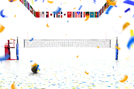 Hi resolution render of professional volleyball court isolated on the white background