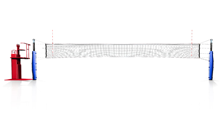 Hi resolution render of professional volleyball net isolated on the white background