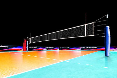 Hi resolution render of professional volleyball court isolated on the black background