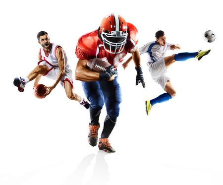 マルチ スポーツ コラージュ サッカー アメリカン フットボール バスケット ボール