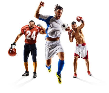 Multi sport collage soccer american football boxing