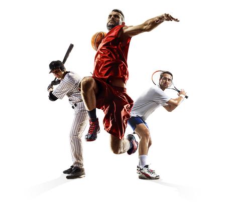 Multi sport collage baseball tennis bascketball Foto de archivo