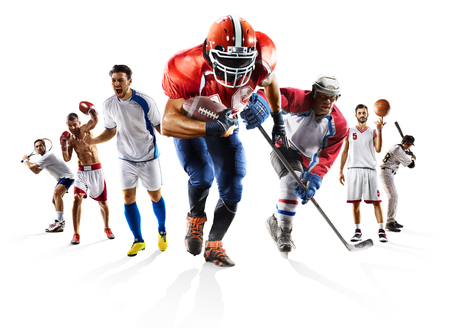 Sport collage boksen voetbal american football basketbal honkbal ijshockey enz Stockfoto