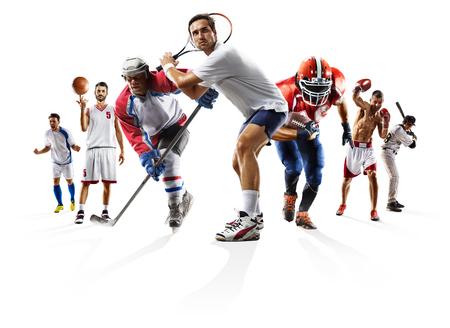 ボクシング サッカー アメリカン フットボール バスケット ボール野球アイス ホッケーなどスポーツのコラージュ