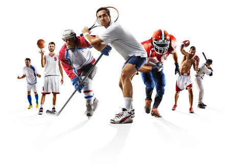 Sport collage boxing soccer american football basketball baseball ice hockey etc Banco de Imagens - 79377428