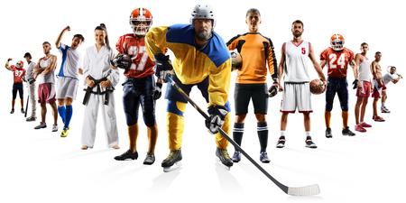 巨大なマルチ スポーツがサッカー バスケット ボール サッカー ホッケー野球ボクシングなどをコラージュします。 写真素材