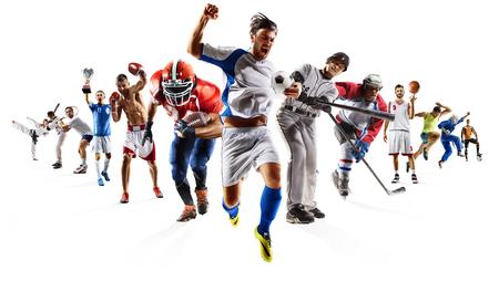 pelota de voley: Engranaje multi enorme del béisbol del hockey del balompié del baloncesto del balompié del collage de los deportes multi Foto de archivo
