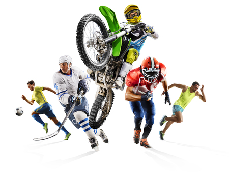 Huge multi sports collage soccer athletics football hockey motocross 版權商用圖片