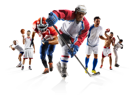 Sport collage boxing soccer american football basketball baseball ice hockey etc