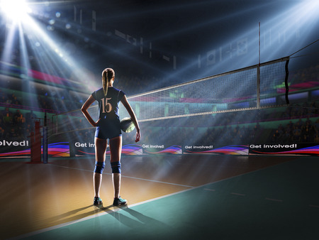 Female professional volleyball player on grand court Stock Photo