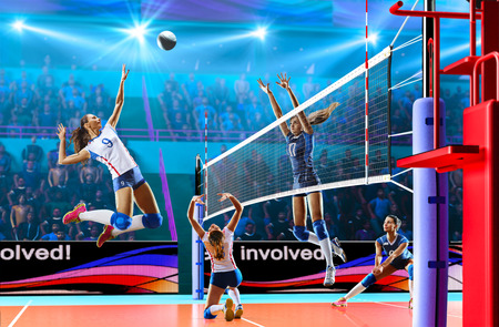 Female professional volleyball players in action on grand court Stock Photo - 82914482