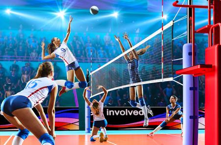Mujer jugadores de voleibol profesional en la acción en el gran tribunal Foto de archivo - 82914491