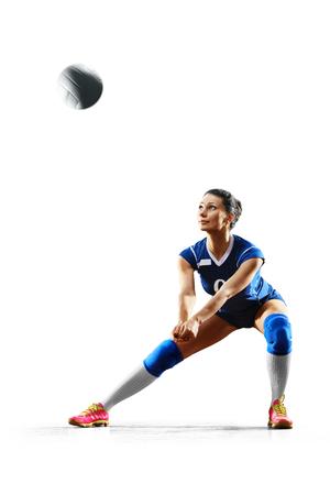화이트 절연 여성 전문 배구 선수 스톡 콘텐츠