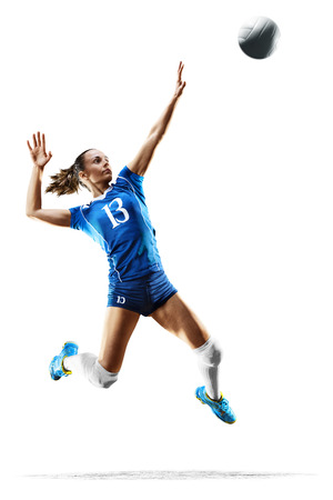 Female professional volleyball player isolated on white Stock Photo - 82856508
