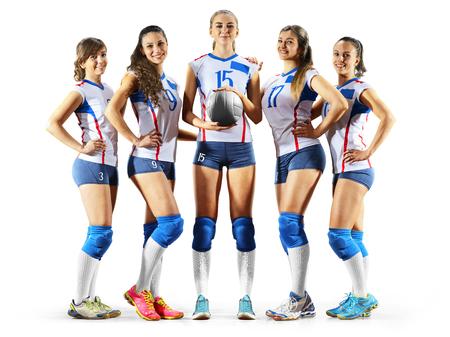 Mujeres jugadores de voleibol profesional aislados en blanco Foto de archivo - 82856522